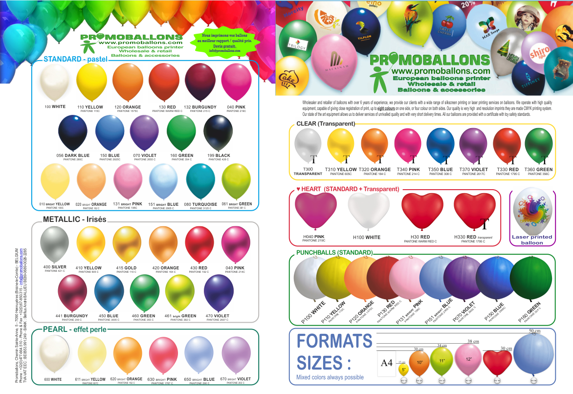 Ballons charte couleurs PROMOBALLONS
